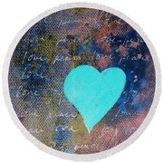 Blue Heart  Round Beach Towel