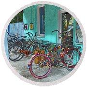 Blue Heaven Key West Bicycles Round Beach Towel