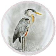 Blue Heron 3 Round Beach Towel by Phyllis Howard