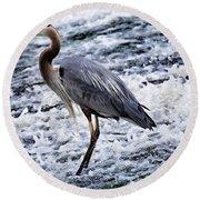 Blue Heron Fishing V3 Round Beach Towel