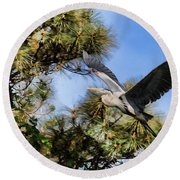 Blue Heron In The Trees Oil Round Beach Towel
