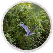 Blue Heron Journey I Round Beach Towel