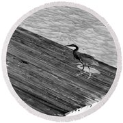 Blue Heron On Dock - Grayscale Round Beach Towel
