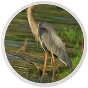 Blue Heron On The Bank Round Beach Towel