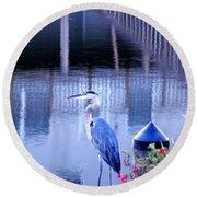 Blue Heron Reflections Round Beach Towel