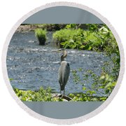 Blue Heron River Fishing  Round Beach Towel