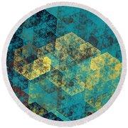 Blue Hexagon Fractal Art 2 Of 3 Round Beach Towel