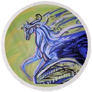 Blue Horse Round Beach Towel