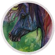 Blue Horse With Red Mane Round Beach Towel