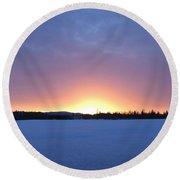 Blue Hour Cariboo Sunset Round Beach Towel