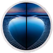 Blue Hour Diptych Round Beach Towel