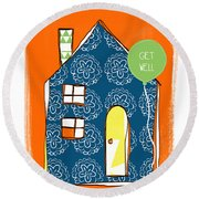 Blue House Get Well Card Round Beach Towel