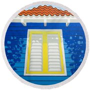 Blue House Round Beach Towel