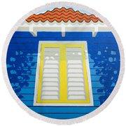 Blue House Round Beach Towel