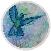 Blue Hummingbird In Flight Round Beach Towel