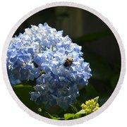Blue Hydrangea With Bumblebee Round Beach Towel