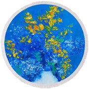Blue Hydrangeas And Golden Chain Flowers Round Beach Towel