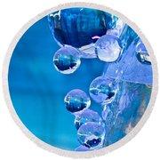 Blue Ice Bubbles Round Beach Towel