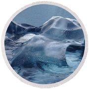 Blue Ice Sculpture Round Beach Towel