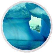 Blue Iceberg Antarctica Round Beach Towel