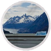 Blue Icebergs On Grey Lake In Patagonia Round Beach Towel