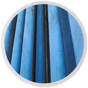 Blue Industrial Pipes Round Beach Towel