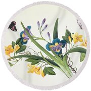 Blue Iris And Insects Round Beach Towel
