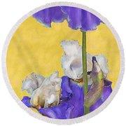 Blue Iris On Gold Round Beach Towel