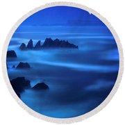 Rock Of Blues Round Beach Towel