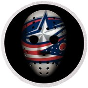 Blue Jackets Goalie Mask Round Beach Towel