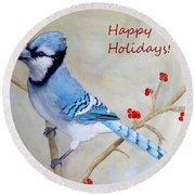 Blue Jay Happy Holidays Round Beach Towel