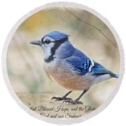 Blue Jay With Verse Round Beach Towel