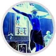 Blue Jesus Round Beach Towel