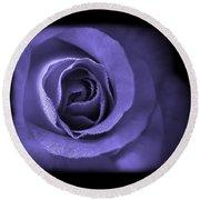 Blue Lavender Violet Roses Triptych Round Beach Towel
