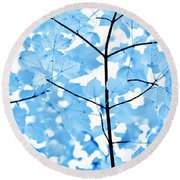 Blue Leaves Melody Round Beach Towel by Jennie Marie Schell