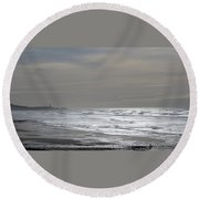 Blue Lighthouse View Round Beach Towel