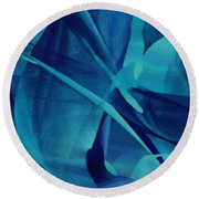 Blue Linear Mesh No 1 Round Beach Towel