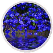 Blue Lobelia Round Beach Towel