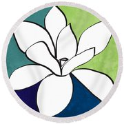 Blue Magnolia 1- Floral Art Round Beach Towel