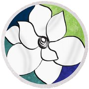 Blue Magnolia 2- Floral Art Round Beach Towel