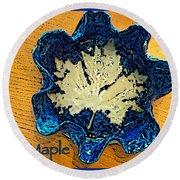 Blue Maple Leaf Dish 2 Round Beach Towel
