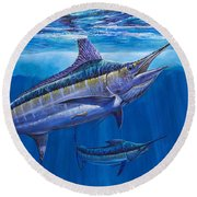 Blue Marlin Bite Off001 Round Beach Towel by Carey Chen