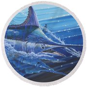 Blue Marlin Strike Off0053 Round Beach Towel by Carey Chen