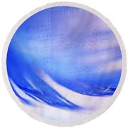 Blue Marvel. Lighten Your Day With Music Round Beach Towel