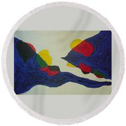 Blue Meanies Round Beach Towel