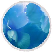 Blue Melody Begonia Floral Round Beach Towel