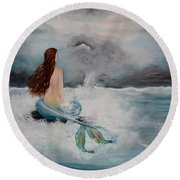 Blue Mermaid Round Beach Towel