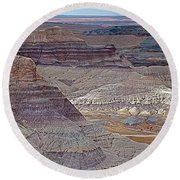 Blue Mesa At Petrified Forest National Park-arizona Round Beach Towel