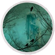 Angel And Crows In A Blue Mist Round Beach Towel