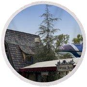 Blue Monorail Fairytale Arts Disneyland Round Beach Towel